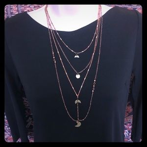Copper & brass FREE PEOPLE quad layered necklace